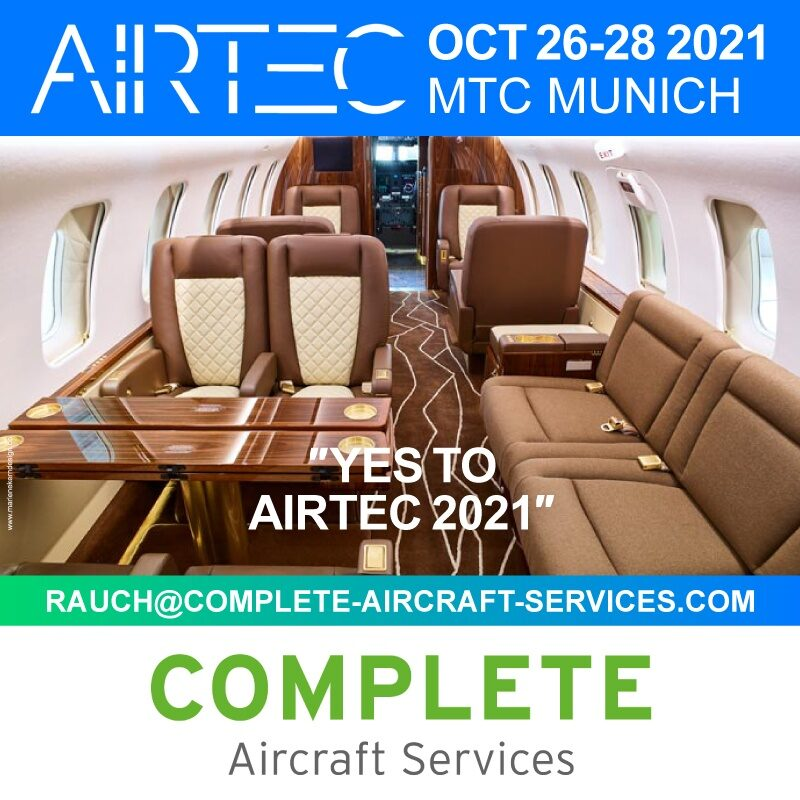 Complete Aircraft Services - Exhibitor and Speaker at AIRTEC 2021, Oct 26-28 2021, MTC Munich. Participate - Countdown is on. Buy your ticket now on https://airtec.aero/tickets
