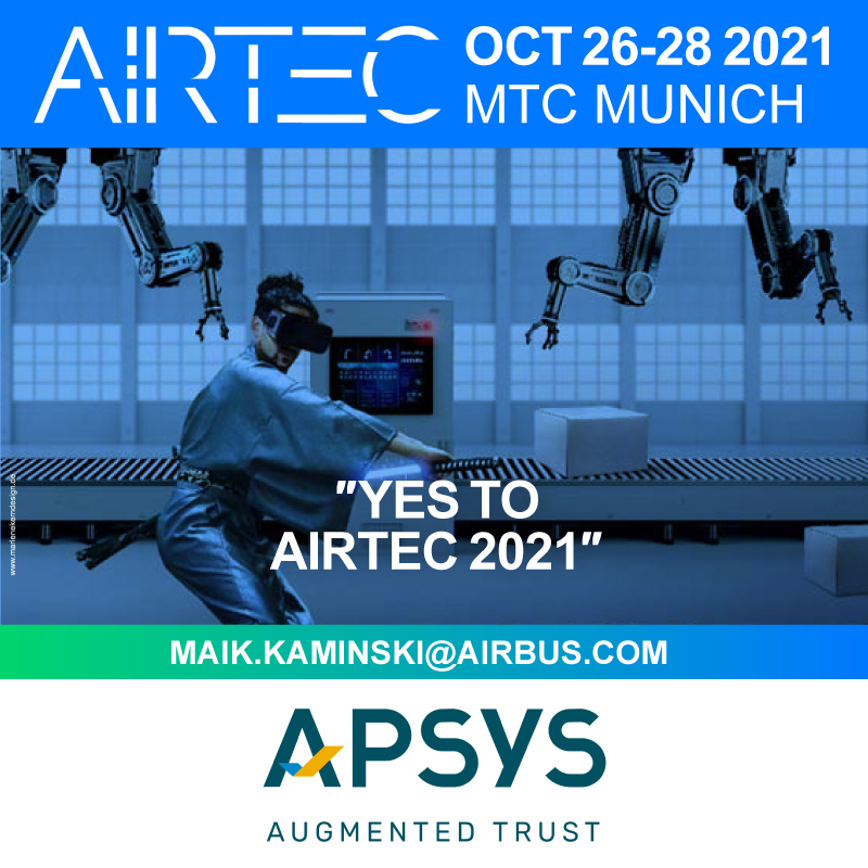 Apsys - an Airbus company at Airtec 2021 // Oct 26-28 2021. Countdown is on - Buy your tickets now on https://airtec.aero/tickets Werbeagentur Marlene Kern Design