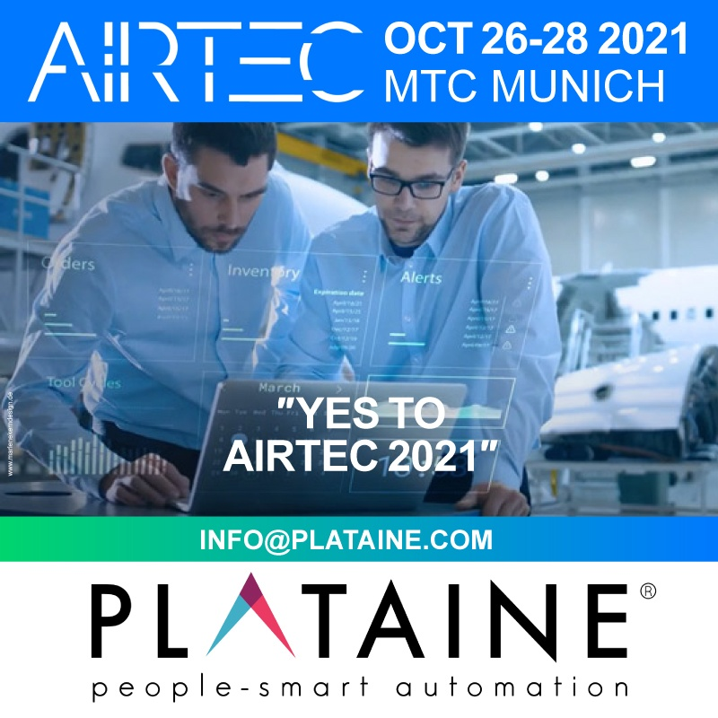 Airtec, Plataine, Trade fair, Exhibition, meeting point, branch, create business, Airbus, GE, IAI, Triumph, Renault F1® Team, Stelia North America, Alestis, Enercon, TPI, Kaman, IFS and Ethan Allen, Airtec 2021, Airtec 2021, worldwide, enabler, global, manufacturers, Aurbus, GE, IAI, Triumph, Renault F1, Stelia, Industrial Internet of Things, Airtec, Plataine, Oct 26-28 2021, Munich, manufacturing, Airtec 2021, leading provider, Industrial IoT, AI-based, IIoT, advanced manufacturing, Plataine exhibitor and Speaker at Airtec 2021 IIoT People smart automation